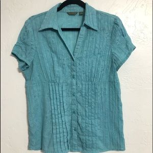 Capped Sleeved Button Down Blouse